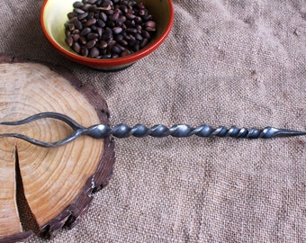 Hand Forged medieval fork with curved horns, stainless steel