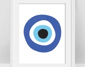 Evil Eye Print, Turkish Evil Eye Art, Greek Evil Eye Protection Symbol Art, Nazar Poster, Bohemian Decor, DIY Nursery Decor, Boho Room Decor
