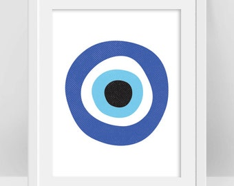 Evil Eye Print, Turkish Evil Eye Art, Greek Evil Eye Protection Symbol Art, Nazar Poster, Bohemian Decor, DIY Nursery Decor, Boho Room Decor