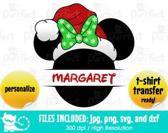 Minnie Christmas Hat Name MONOGRAM SVG, Disney Head Hat SVG, Disney Digital Cut Files in svg, dxf, png and jpg, Printable Clipart
