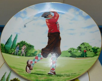 Saxony, Limited Edition Golf Collector Plate by David Fisher - Boxed