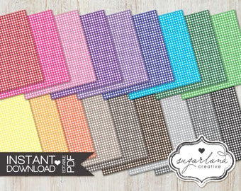 Gingham Plaid Multicolor Digital Papers - 18 12X12 Inch Instant Download Papers