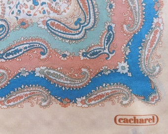 Cacharel Multi Colored Paisley Silk Scarf