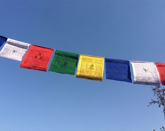 Tibetan Buddhist Cotton Prayer Flags Single Roll Containing 25 Flags - (TPF01B)