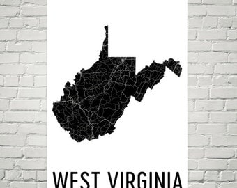 West Virginia Decor, West Virginia Map, West Virginia Art, West Virginia Print, Wall Art, Sign, Gifts, State, Map of West Virginia, Home