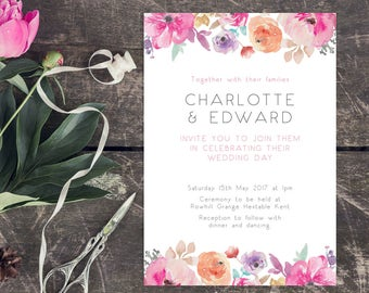 Printable Wedding Invitation/ RSVP/ Save the date/ Thankyou card/ PDF/ Download/ Custom/ Floral/ Watercolour/ Charlotte suite #007
