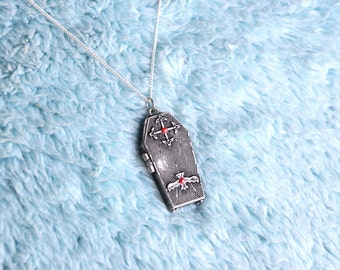 Afterworld - Silver gothic coffin skeleton pendant Necklace