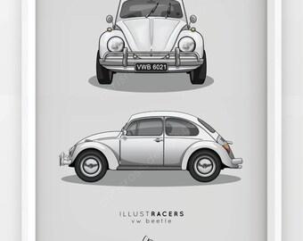 VW Beetle Print (Various Colours)