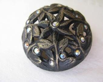 Large Vintage Metal Rhinestone Button