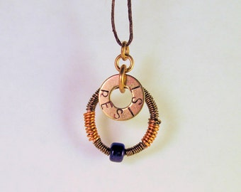 Rustic Hand Stamped Wire Wrapped and Beaded Necklace--Resist