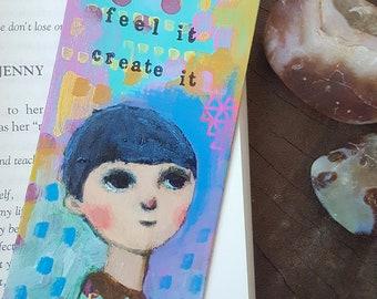 Original Mixed Media Art Bookmark,Bamboo Bookmarks, handmade bookmark,hand painted bookmarks