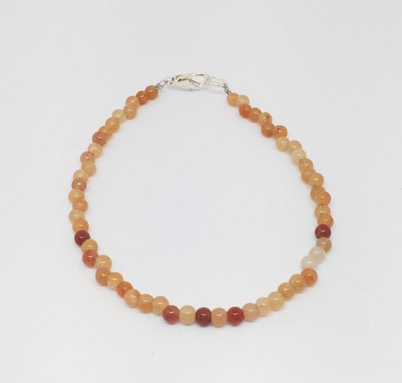 Red Aventurine Bracelet, Gemstone Bracelet, Beaded Bracelet, Gift For Her, Yoga Bracelet, Mala Bracelet, Meditation Bracelet, Boho Bracelet