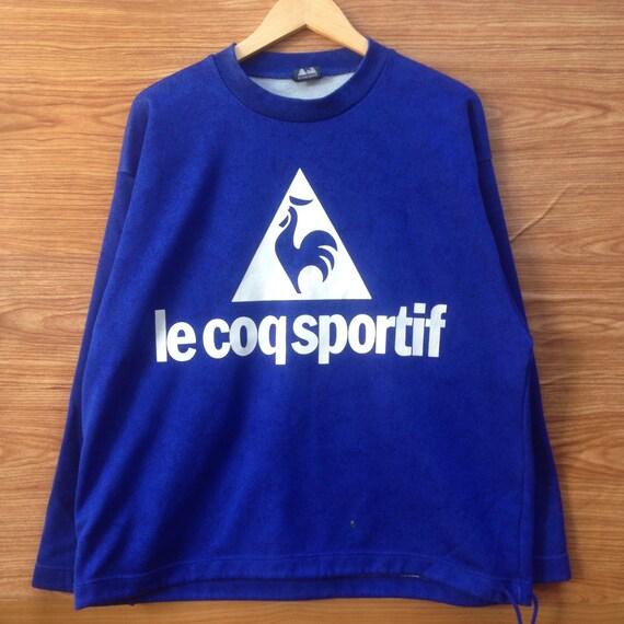 Rare!! Vintage Ie coq sportif Sweatshirt Big Logo Blue Colour