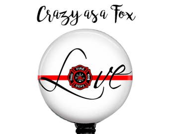 """Thin Red Line """"Love"""" Retractable Badge Holder,  Retractable Badge Reel,  Firefighter Badge Reel, Fireman ID Badge Reel"""