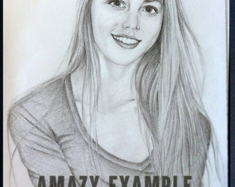 Artist Hand Drawn Custom Portrait Pencil Sketch from Your Photos