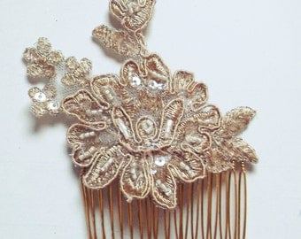 Handmade Champagne, Rose Gold Lace Floral Comb, Bridal Hair Accessory