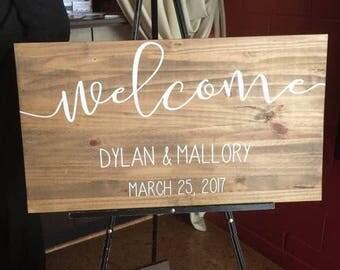 Horizontal wedding welcome wood sign rustic