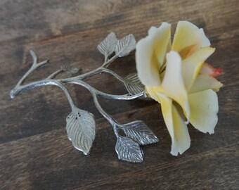 Capodimonte Yellow Flower, Silver Metal Stem, Capodimonte Flowers, Italian Porcelain, Delicate Porcelain, Capodimonte of Italy
