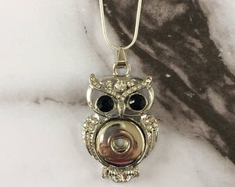 "Owl with Black Rhinestone Eyes  //  Owl Necklace  //  Large Pendant  //  Ginger Snap and Noosa inspired  //  925 Sterling Silver 23"" Chain"