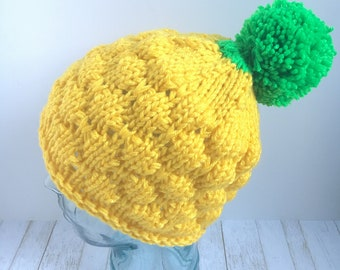 Knitted Pineapple Hat Adult Yellow Green Spongebob Tropical Handmade Knit