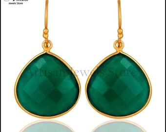 Green Onyx Earrings, Green Onyx Jewelry, Silver Dangle Earrings, Bezel Set Earrings, May Birthstone Earrings, Wedding Earrings, Gift Jewelry
