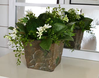 Greenery in a Rustic Pot with Blossoms and Moss Balls, Garden Style Arrangement, Farmhouse Decor, Rustic Centerpiece, Spring Centerpiece