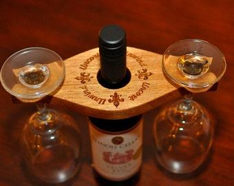Wood Bottle Wine Glass Caddie Holder Caddy Personalized Wedding Anniversary Gift