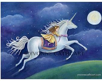Unicorn print, girls nursery, prints for nursery, horse art, nursery wall art, unicorn art, childrens wall art, girl prints, kids art print