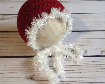 Snow Baby, Christmas Baby Bonnet, 0 to 3 Month, Infant Bonnet, Baby Christmas, Baby First Christmas, Holiday Bonnet