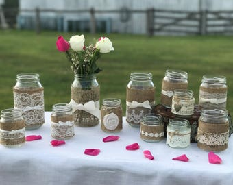24 x Decorated Glass Wedding Jars ~ Ivory ~ Vintage/Rustic/Beach/Winery Weddings