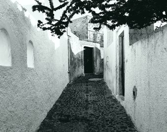 Santorini Street Digital Art; Greek Art Print; black and white art; Greece; gallery wall art; island art; travel photography art;
