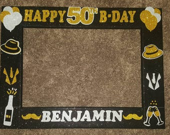 Men's 50th Photo booth Frame Birthday party, Vintage Dude Party theme