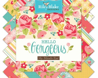 """Riley Blake Hello Gorgeous Fabric Collection - 42 5"""" square stackers"""