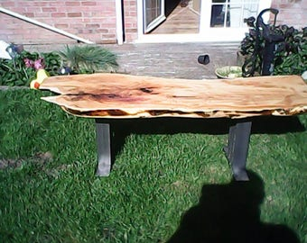 Solid Yew Slab Coffee Table.