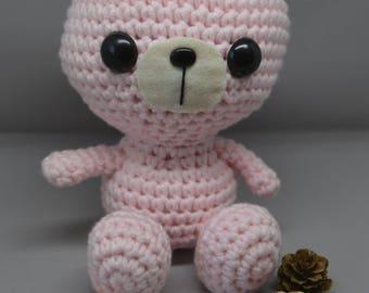 Pink amigurumi plush Bear