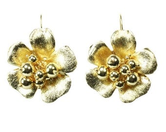 Flower Textured Large Gold Earrings