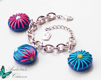 Bracelet with pendants handmade, plates made of polymeric paste and fimo with flowers