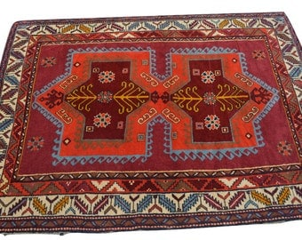 Stunning Vintage Persian Afshar hand knotted rug / 100% wool