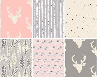 Woodland Cotton Fabric Bundle- Art gallery - Baby,Girl,Bedding - Modern