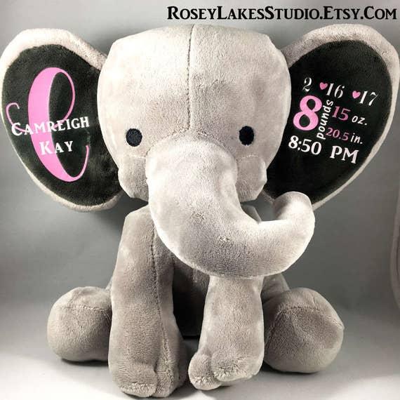 Birth Announcement Elephant Monogram Elephant Birth Stats