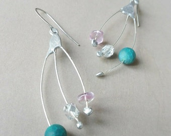 Silver plated earrings with gemstone and Swarovski.