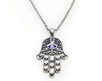 Silver Hamsa Necklace with Evil Eye