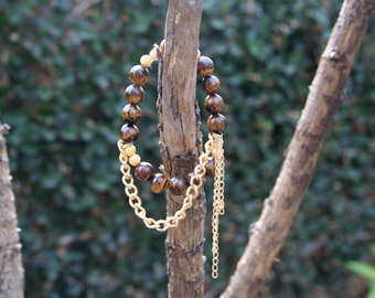 Tigers Eye Brown and Gold Chain Bracelet