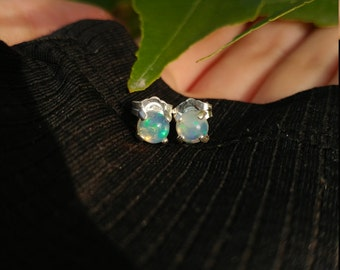 Ethiopian Wello Opal Stud Earrings