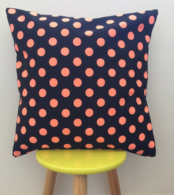 Neon orange and black spotted cushion cover