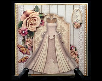 Handmade Vintage Style Wedding Marriage Congratulations Greeting Card W013