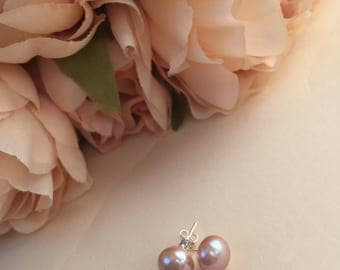 Genuine Large Freshwater Pearl Stud Earrings, Freshwater Pearl Earrings, Pink Pearls, Pearl Earrings, Sterling Silver Pearl Earrings, Pearl