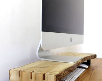 Live Edge Sycamore 27″Wooden iMac Monitor Stand