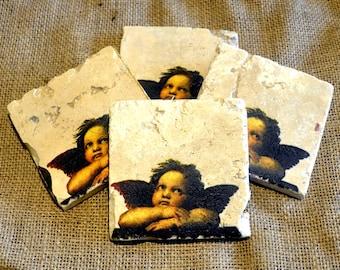 Angel/Cherub Natural Stone Coaster