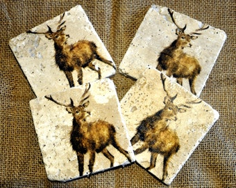Standing Stag Natural Stone Coaster
